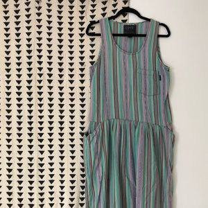Vintage 80s ESPRIT Cotton Striped Dress sz M